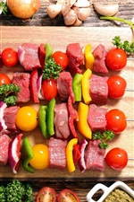 Preview iPhone wallpaper BBQ, kebab, meat, vegetables, food