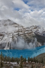Preview iPhone wallpaper Beautiful Banff National Park, Peyto Lake, mountains, trees, Canada