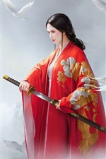 Preview iPhone wallpaper Beautiful Chinese girl, red dress, sword, birds, retro style, art