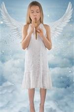 Beautiful little angel girls, wings, sky