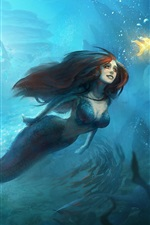 Preview iPhone wallpaper Beautiful mermaid, underwater, goldfish, art painting