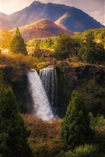 Preview iPhone wallpaper Beautiful nature landscape, waterfall, trees, mountains, autumn