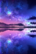 Preview iPhone wallpaper Beautiful night nature landscape, starry, stars, sea