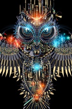 Beautiful owl, mechanism style, creative