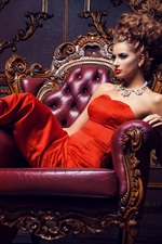 Preview iPhone wallpaper Beautiful red dress girl, pose, necklace, hairstyle, makeup, chair