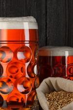 Preview iPhone wallpaper Beer, foam, grain, dry fish, bottles, mugs
