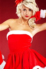 Blonde Christmas girl, saia vermelha