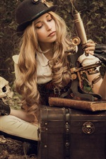 Preview iPhone wallpaper Blonde girl, microscope, skull, books