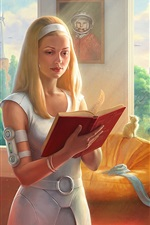 Preview iPhone wallpaper Blonde girl read book, guitar, future city, art picture