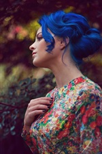 Preview iPhone wallpaper Blue hair girl, flowers