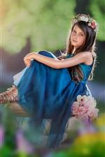 Preview iPhone wallpaper Blue skirt child girl, wreath