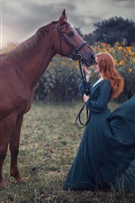 Preview iPhone wallpaper Blue skirt girl and brown horse, wind