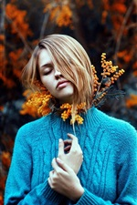 Preview iPhone wallpaper Blue sweater girl, sadness, flowers