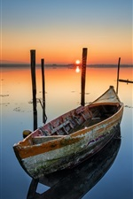 Preview iPhone wallpaper Boat, lake, dawn, sunrise