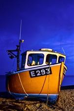 Preview iPhone wallpaper Boat, sea, coast, blue, night