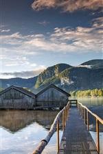 Preview iPhone wallpaper Boathouses, bridge, lake, trees, mountains, morning