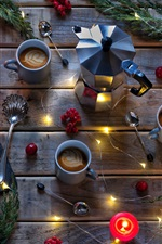 Preview iPhone wallpaper Bread, coffee, cups, lights, twigs, spoon, candles