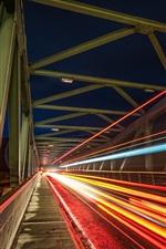 Preview iPhone wallpaper Bridge, light lines, speed, night