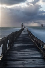 Preview iPhone wallpaper Bridge, lighthouse, sea, morning, clouds