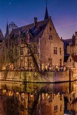 Bruges, Belgium, night, river, houses, lights