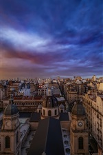 Buenos Aires, city, buildings, clouds, lightning, dusk, Argentina
