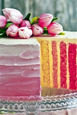 Preview iPhone wallpaper Cake, multi layers, pink tulips