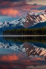 Canadá, albert, parque, reflexão água, montanhas, árvores, lago, nuvens, anoitecer