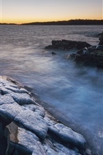 Preview iPhone wallpaper Canada, rocks, sea, ice, winter