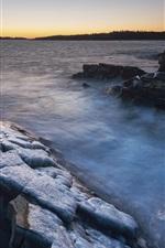 Canada, rocks, sea, ice, winter