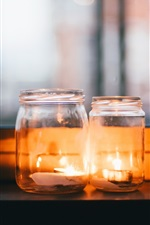 Preview iPhone wallpaper Candles, flame, glass bottles, window
