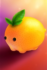 Preview iPhone wallpaper Cartoon lemon, pet, ice cubes, creative design