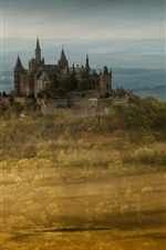 Preview iPhone wallpaper Castle Hohenzollern, Germany, trees, autumn, fog, morning