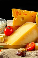 Preview iPhone wallpaper Cheese, dairy products, tomato, pepper