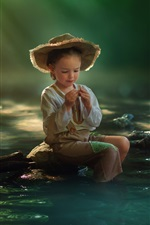 Preview iPhone wallpaper Child girl, fishing, river, water, bucket