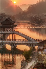 Preview iPhone wallpaper China, Hunan Province, village town, bridge, river, morning, sunrise