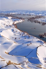 Preview iPhone wallpaper China, snowy landscape, river, trees, hills