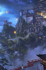 Preview iPhone wallpaper Chinese landscape, city, mountains, trees, lanterns, retro, watercolor painting