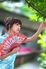 Preview iPhone wallpaper Chinese young girl, fan, summer, cheongsam, tree, green leaves
