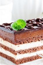 Preview iPhone wallpaper Chocolate cake, dessert, cream, bright