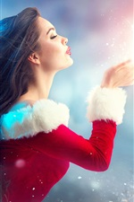 Christmas girl, lady style, romantic, hands, tree, decoration