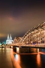 Preview iPhone wallpaper City, bridge, night, illumination, Cologne, Germany
