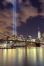 iPhone обои Город ночь, мост, река, небоскребы, освещение, Китай