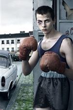 Preview iPhone wallpaper City street, boxer, boy, car