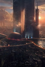iPhone fondos de pantalla Paisaje urbano, rascacielos, ciudad futura, diseño creativo