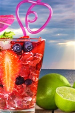 Preview iPhone wallpaper Cocktail, drinks, lime, berries, sea
