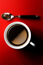 Coffee, cup, spoon, red background