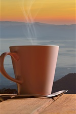 Preview iPhone wallpaper Coffee, cup, steam, spoon, sunset