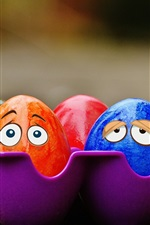 Preview iPhone wallpaper Colorful eggs, face, eyes, creative