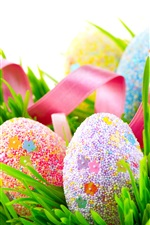 Preview iPhone wallpaper Colorful eggs, many balls covered, grass, spring, Easter
