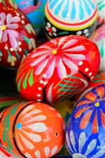 Preview iPhone wallpaper Colorful painted eggs, Happy Easter